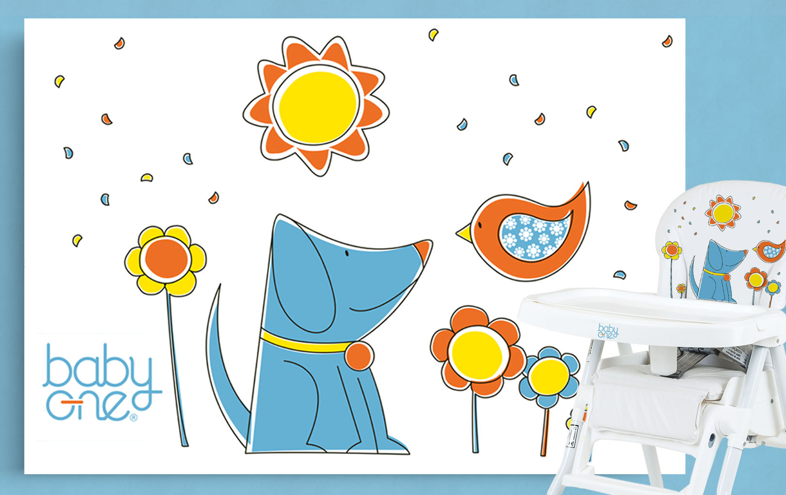 Illustrations for high chairs, changing tables and play yard.<br>